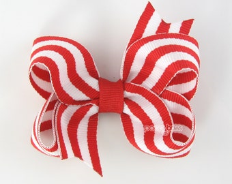 Red and White Striped Hair Bow - Baby Toddler Girl Hairbow - 3 Inch Boutique Bow on Alligator Clip Barrette Preppy Taffy