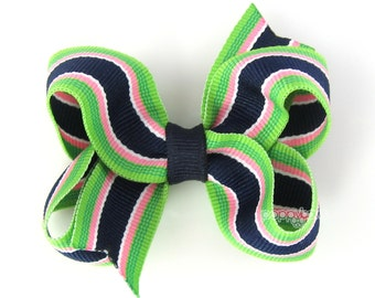 Navy Blue Hair Bow - Bahama Breeze Striped - Baby Hair Bow - Toddler Hair Bows - Hairbows for Girls - 3 inch bows - 3 inch hair bows