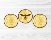 Honeycomb Round Labels -- Beehive, Honeybee, Bumblebee Birthday, Bee Baby Shower, Cupcake Topper, Stickers, Printable, Instant Download