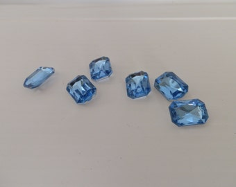 lot of 6 faux blue rhinestones for crafts . faux rhinestones . blue rhinestones . blue and silver . craft . supplies . faux jewels gemstones