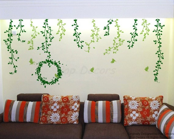 Bedroom Nature Removable Vinyl Wall Decals Beautiful Vines - Wall decals nature and plants