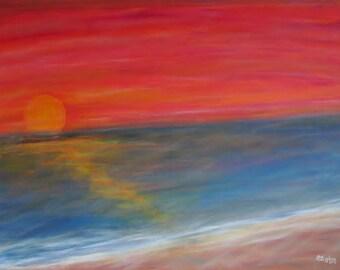 Setting Sun, by Paul Cullingham, acrylic on canvas, 3 ft x 4 ft