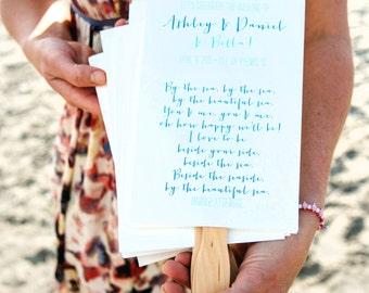 Summer Wedding Program Fans - Single-sheet Fan - Custom Design