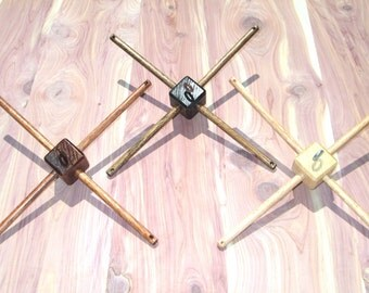 Wooden Hanger for Crib Mobile - Cross Bars - 12 inches long - Wood Stain Finish