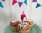 Mini Birthday Bird with Bunting : Pink - MADE TO ORDER!