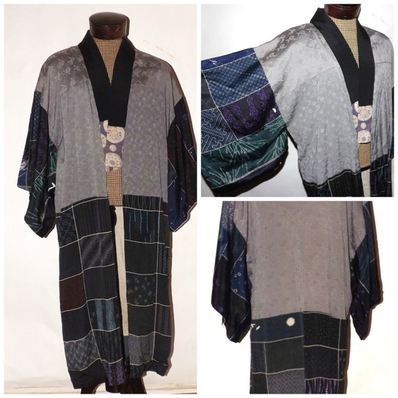 Vintage Kimono. Mens. Womens. Juban. Indigio. Silk Robe. Japan. Medium. Large.