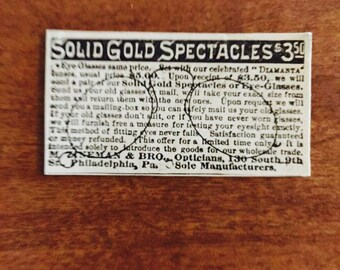 Solid Gold Spectacles, Eye-Glasses, Glasses Ad, Glasses Ad, Vintage Glasses Ad