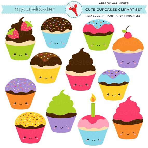 Cute Cupcakes Clipart Set clip art set of kawaii cupcakes