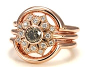 Art Deco Champagne Diamond and Rose Gold Engagement Ring Set - 3 Ring Wedding Set Handmade READY TO SHIP Size 5.5-7.5