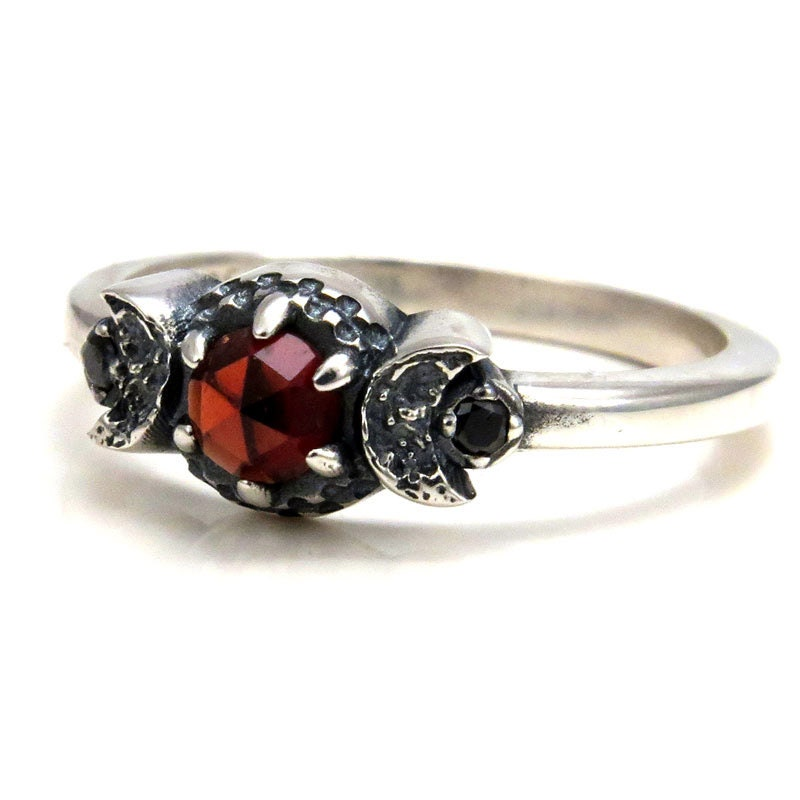 Blood Moon Garnet Ring With Crescent Moons And Black Diamonds