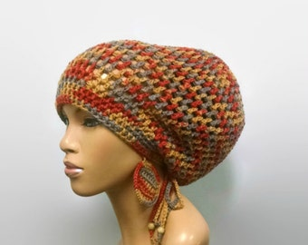 MADE TO ORDER Large Earth Tones/Clay Colors Crochet Slouch Hat / Dreadlock hat w drawstring/free crochet earrings Gold Burnt Orange Taupe