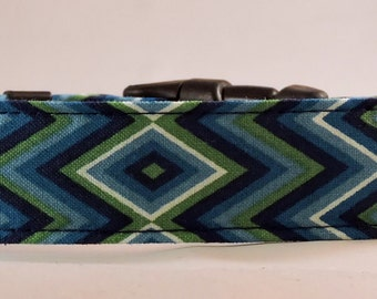 Dog Collar, Martingale Collar, Cat Collar - All Sizes - Blue Diamond