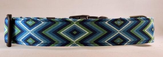 Dog Collar - Dog, Martingale or Cat Collar - All Sizes - Blue Diamond