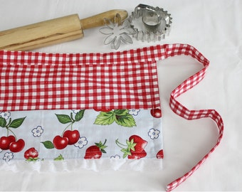 Retro Cherries and Strawberries Child Apron with Eyelet Lace