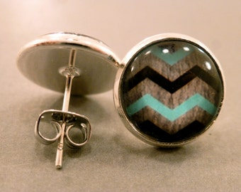 Chevron Studs: Black and Turquoise Chevron Earrings, Chevron Jewelry, Weathered, Antique, Summer, Tribal