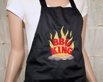 BBQ King Embroidered Logo Pocket Chef Apron MTCoffinz - Ready to Ship