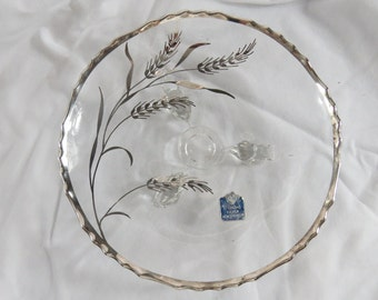 Vintage Wheat Pattern Sterling Silver on Crystal Footed Dish  Box B