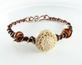 Bangle Bracelet Wire Wrapped Bracelet Ivory Flower Copper Bracelet Wire Wrapped Jewelry Copper Bangle