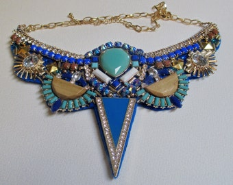 Statement Bib Necklace Royal Blue Aqua Fabric Art Deco