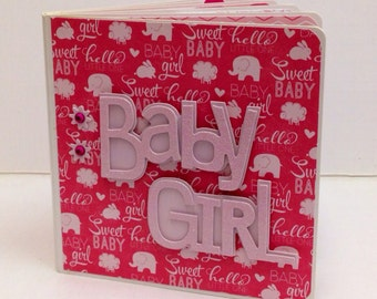 Baby Girl Scrapbook Premade Pages Album- 5x5 Board Book baby shower, new baby