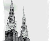Gothic Cathedral Spires, 8x10 Blue and Gray Tint Photo of Canadian Notre Dame