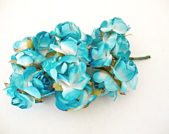 Medium Aqua Blue and White Mulberry Paper Roses Flowers -3 Bunches
