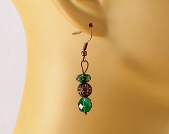 Green Tourmaline and Crystal Earrings.  Emerald color.  Vintage Look.