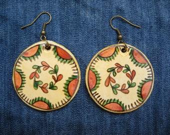 Romanian traditional motif, earrings, original folk art painting,eye,God,God's eye,folk art jewelry,  hippie jewelry, Hand Painted Jewellery