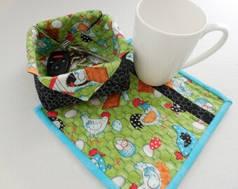 Chicken Fence Mug Rug & Fabric Box- Free Shipping to US and Canada