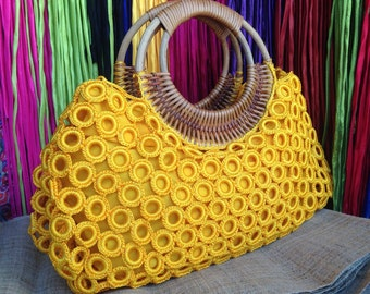 Beautiful Boho Yellow Crochet Bag With Nylon Lining , Top zipper, Inside Pocket And Rattan Loop Handles