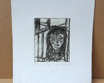 "Vintage Original Black and White Etching by artist Sarah Troderman Titled ""Amy"""