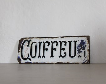 Antique French Enamel Sign Coiffeur Vintage Industrial Wall Decor