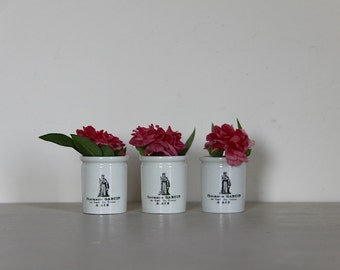 French Antique Apothecary Jars, Apothecary Pots, Porcelain, Aix En Provence in Black and White Sarreguemines, Set of 3