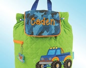Quilted Backpack - Personalized and Embroidered - TRUCK
