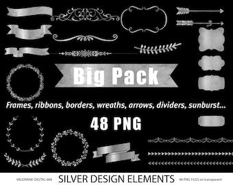 Silver design elements, silver clipart, silver digital frames, silver digital ribbon, digital banner, digital clipart, silver- 668