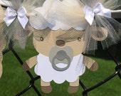 Lamb baby shower, gender neutral, gender reveal banner, photo prop, chevron, tan, grey, gray
