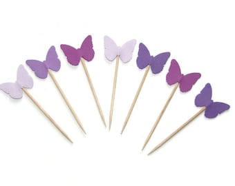 24 Butterfly Party Picks in Shades of Purple, Cupcake Toppers, Food Picks, Party Picks