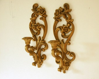 candle wall sconces gold candle holders hollywood regency decor - Gold Candle Holders