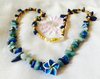 Tropical blue rocks necklace