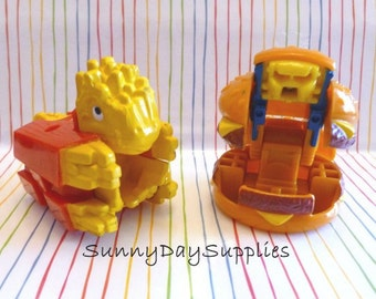 Vintage McDonalds Happy Meal toys, Robot and Dinosaur, Changeables, French Fries and Cheese Burger - 1987 and 1990,  Food Toys