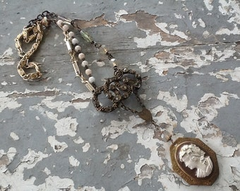 Assemblage Necklace Cameo Necklace Repurposed Necklace Jewelry Vintage Rosary Beads