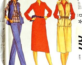 Plus size sewing pattern retro 1980s skirt, pants, long vest & button front blouse / original Rare Mccalls No. 7177 UNCUT womens size 18.5
