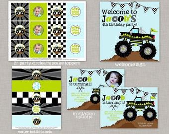 Monster Truck Birthday, Monster Truck Birthday Decorations, Monster Truck Party, Printable