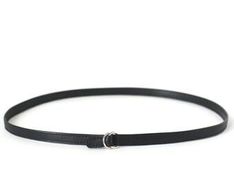 Slim Belt Genuine Leather Black, minimalistic belt