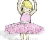 Nursery Art, Blonde Ballerina Children's Illustration -  8x10 Print