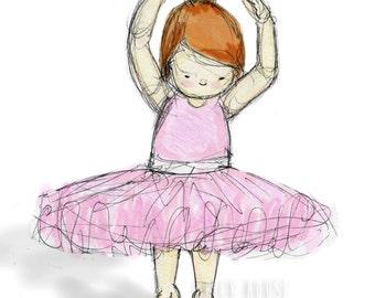 Ballerina with Brown Hair Print 5x7 - Girls Wall Art, Nursery Art