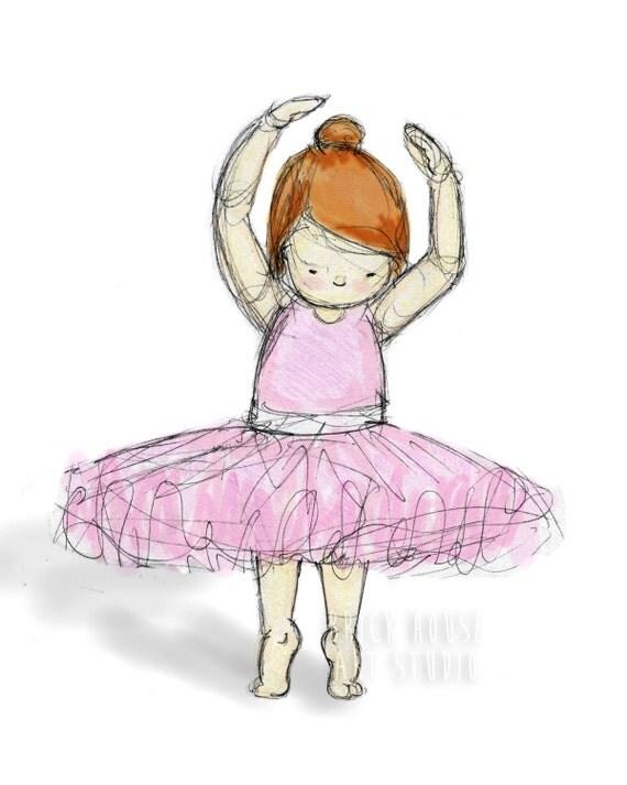 Ballerina with Brown Hair Print 8x10 - Girls Wall Art, Nursery Art