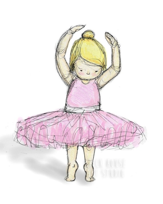 Nursery Art, Blonde Ballerina Children's Illustration -  8x10 Print