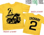 Construction Birthday Shirt personalized dump truck 1st 2nd 3rd 4th 5th birthday tshirt - you pick the colors!