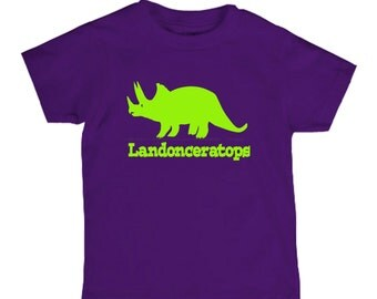 Personalized triceratops shirt for kids - dinosaur name shirt - pick your colors!